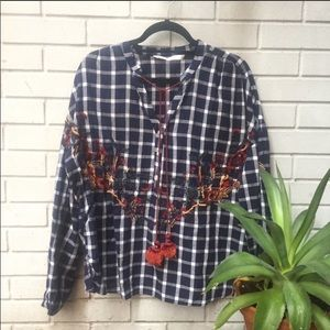 Zara embroidered tunic style blouse